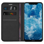 Leather Wallet Case & Card Holder Pouch for Nokia 8.1 - Black